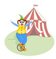cheerful clown unicycling vector image