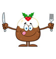 christmas pudding cartoon character vector image vector image