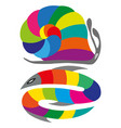 color wheel fish and snake with shade colors vector image vector image