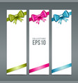 Colorful ribbons and white paper card background vector