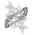 contour image of two revolvers roses and diamond vector image vector image