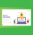 creative startup rocket launch landing page vector image vector image