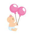 cute and little girl baby with balloons helium vector image