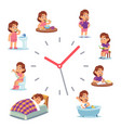 daily clock for girl routine schedule vector image