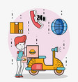 delivery and courier cartoons vector image vector image