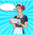 female chambermaid with clean towels pop art vector image vector image