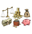 finance money set scales stack of coins sack vector image vector image