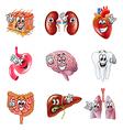Funny cartoon human organs icons set vector image vector image