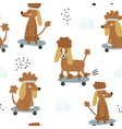 funny poodles on skateboards seamless pattern vector image vector image