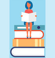 girl sitting on pile books with open book vector image