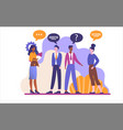 group young people talking and thinking vector image
