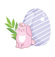happy easter pink rabbit sitting with egg branch vector image