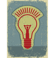 Idea lampGrunge symbol of light bulb on old paper vector image