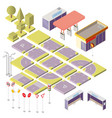 isometric city constructor with 3d elements vector image vector image