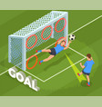 kicking goal football background vector image vector image