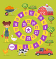 kids farm board game vector image vector image