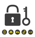 lock and key icon on white background vector image vector image