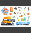 long-distance truck driver and elements related to vector image vector image
