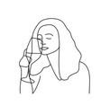 minimalism hand drawn female portrait in modern vector image vector image