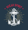 nautical marine emblem anchor and wording vector image vector image
