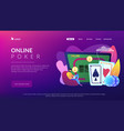 online poker concept landing page vector image vector image