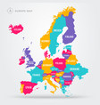 political map europe in four colors with names vector image