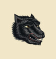 screaming mad wolf for tattoo or label roaring vector image