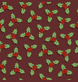 seamless christmas pattern with holly berries vector image