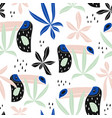 seamless pattern with tropical birdstucans palm vector image vector image