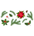 set for christmas holiday decorations vector image vector image