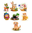 set of cute animals and harvest ripe vegetables vector image vector image