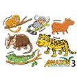Set of Cute cartoon Animals in the Amazon vector image