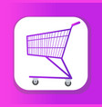 shopping carts icon flat style metal shopping vector image