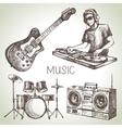 sketch music set hand drawn dj icons vector image