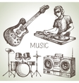 Sketch music set Hand drawn of Dj icons vector image