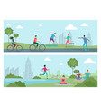 sports people in city park outdoor activity vector image vector image
