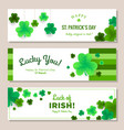 st patricks day horizontal banners set vector image