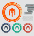 stool icons on the red blue green orange buttons vector image vector image