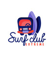 surfing club logo extreme surf retro badge vector image vector image