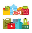 survival kit flat style colorful cartoon vector image