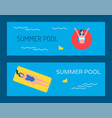 swimming pool banner with people bathing vector image