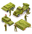 tank soldiers and military cars flat 3d vector image vector image