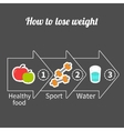 Three step weight loss infographic Big arrow vector image vector image
