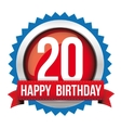 Twenty years happy birthday badge ribbon vector image vector image