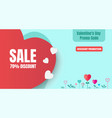 valentines day discount promotion banner for vector image vector image