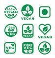 vegan food labels set in green colors vector image