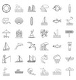water creation icons set outline style vector image vector image