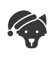 wolf wearing santa hat silhouette icon design vector image vector image