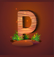 wooden letter p decorated with grass vector image vector image