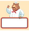 chef bear banner vector image